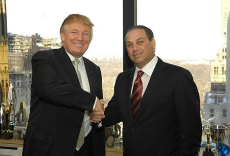 Cap Cana's Board of Directors President, Dr. Ricardo Hazoury and Donald J. Trump, CEO and President of The Trump Organization, shake hands after signing the agreement for Trump at Cap Cana.